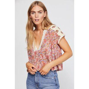 NWT Free People Leilani Print Tee in Tea Combo S